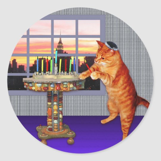 Menorah Cat Classic Round Sticker