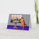 """menorah cat holiday card<br><div class=""""desc"""">This kitty has put on his very best yarmulke to light the candles.  It's sundown,  and time to remember the great Chanukah miracle.  Later on,  after the latkes,  he'll be down on the floor playing dreidel.  What a wonderful time of year!</div>"""