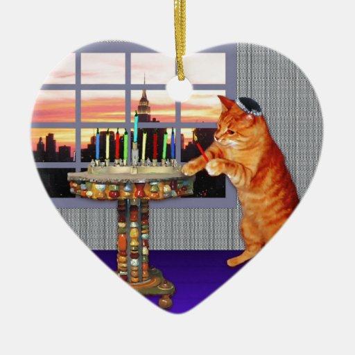 Zazzle menorah cat.jpg Ceramic Ornament