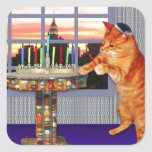"menorah cat.jpg square sticker<br><div class=""desc"">Not just for Chanukah any more - this pretty ginger lights the candles because a great miracle happened here!</div>"