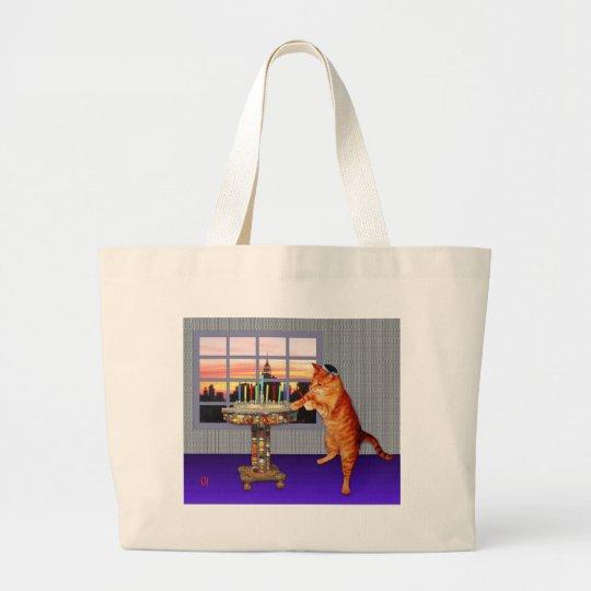 Menorah Cat Large Tote Bag