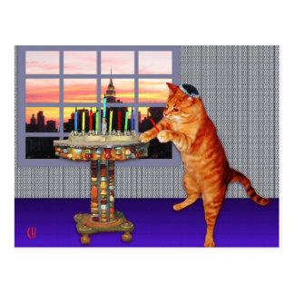 Menorah Cat Postcard