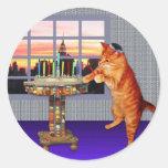 Menorah Cat Round Sticker