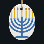"Menorah Ceramic Ornament<br><div class=""desc"">The Menorah design is beautiful and bright and fills you to the brim with holiday spirit and is perfect on gifts,  table runners,  kitchen linens,  home decor and on all things Hanukkah!</div>"