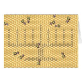 Menorah de la abeja tarjeta