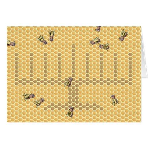 Menorah de la abeja tarjeta de felicitación