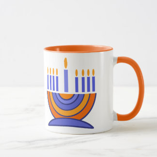 Menorah Design Hanukkah Gift Mugs