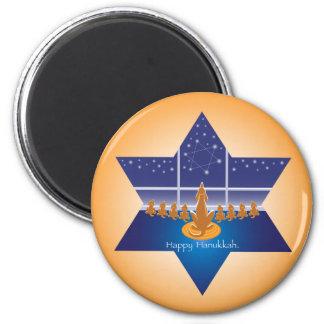 Menorah Dogs_Happy Hanukkah_Star of David 2 Inch Round Magnet
