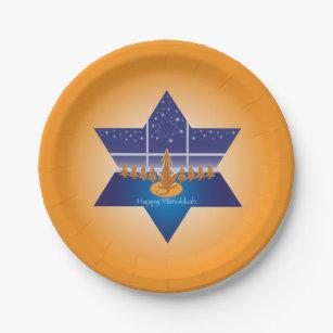 Menorah Dogs_Happy Hanukkah_Star of David_orange Paper Plate  sc 1 st  Zazzle & Chanukah Menorah Plates | Zazzle