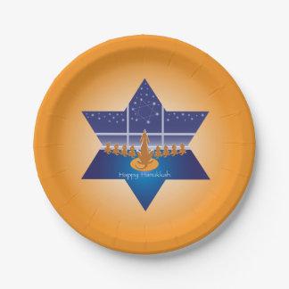 Menorah Dogs_Happy Hanukkah_Star of David_orange Paper Plate