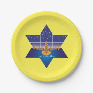 Menorah Dogs_Happy Hanukkah_Star of David Paper Plate