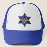"Menorah Dogs_Happy Hanukkah_Star of David Trucker Hat<br><div class=""desc"">This holiday season,  let everyone know there&#39;s a new sheriff in town...  Our hopeful Hanukkah hounds will put a smile on the face of any law abiding citizen who believes in holiday miracles.</div>"