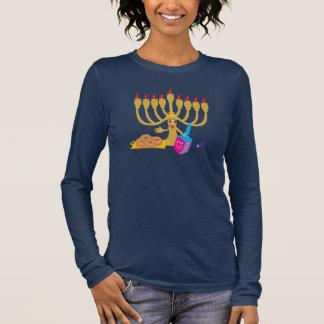 Menorah & Dreidel Navy Long Sleeves T-Shirt
