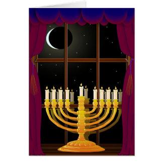 Menorah en ventana tarjeta de felicitación