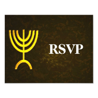 Menorah Flame Bar/Bat Mitzvah RSVP Card