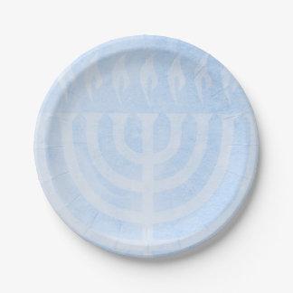 Menorah Glow Hanukkah Paper Plate