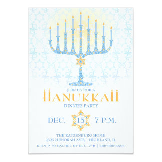 Menorah Hanukkah Invitation
