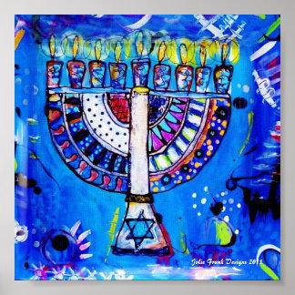 Menorah in Blue, Happy Hanukkah! Poster