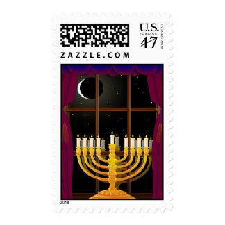Menorah In Window Stamp