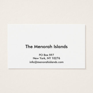 Menorah Islands Project Business Cards