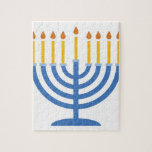"Menorah Jigsaw Puzzle<br><div class=""desc"">The Menorah design is beautiful and bright and fills you to the brim with holiday spirit and is perfect on gifts,  table runners,  kitchen linens,  home decor and on all things Hanukkah!</div>"