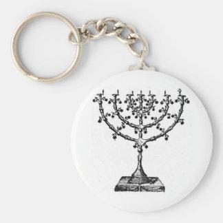 Menorah judío llavero redondo tipo pin