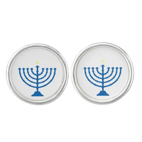 Menorah Lighted by the Star of David Cuff Links Cufflinks