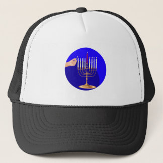 Menorah on Blue Trucker Hat