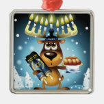 Menorah Reindeer Square Metal Christmas Ornament