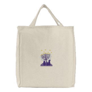 Menorah Snowfamily Embroidered Tote Bag