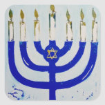 "Menorah Square Stickers<br><div class=""desc"">This menorah comes from one of my original illustrations! Artwork © Abigail Davidson.</div>"