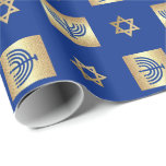 "Menorah &amp; Star of David Hanukkah Wrapping Paper<br><div class=""desc"">Happy Hanukkah. Star of David and Menorah Gold Foil Design Hanukkah Gift Wrapping Paper. Matching cards,  postage stamps and other products available in the Jewish Holidays / Hanukkah Category of our store.</div>"