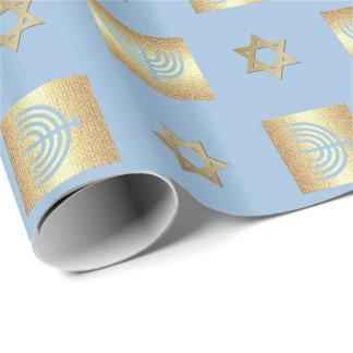 Menorah & Star of David Hanukkah Wrapping Paper