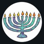 "Menorah Stickers<br><div class=""desc"">Blue Menorah with twinkling candles.</div>"