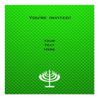 """Menorah verde invitación 5.25"""" x 5.25"""""""