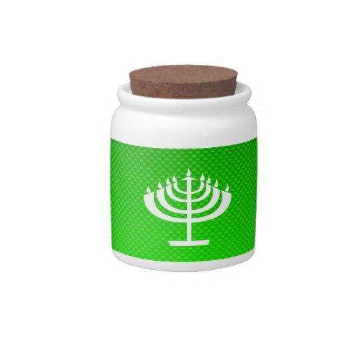 Menorah verde jarras para caramelos