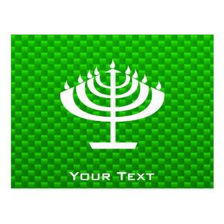 Menorah verde tarjetas postales