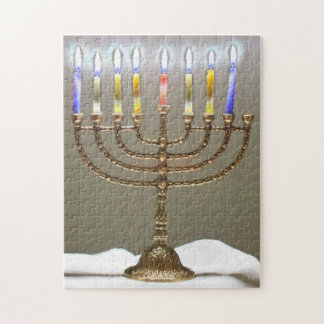 Menorah with Glowing Candles Puzzle