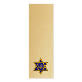 Menorah Within A Star of David Bookmark Double-Sided Mini Business Cards (Pack Of 20)