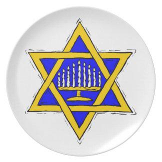 Menorah Within the Star of David Plate