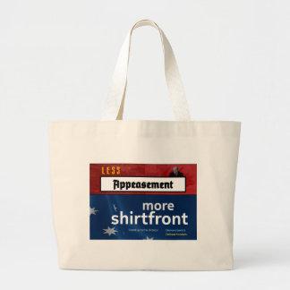 Menos apaciguamiento, más shirtfront (lleno) bolsa tela grande