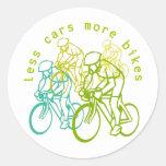 Menos coches más bicis etiquetas redondas