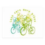 Menos coches más bicis tarjetas postales