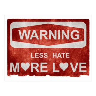 Menos odio más amor tarjetas postales