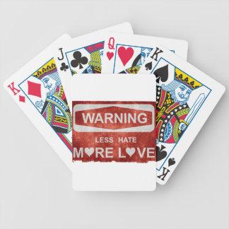 Menos odio más señal de peligro del amor cartas de juego