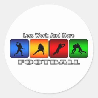 Menos trabajo y más fútbol etiquetas redondas