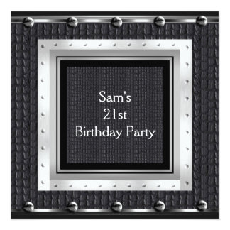 Mens 21st Birthday Party Black Metal Leather Card