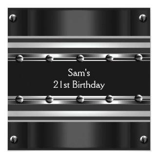 Mens 21st Birthday Party Black Metal Silver Mans Invites