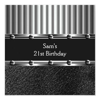 Mens 21st Birthday Party Black Metal Silver Mans Invitation