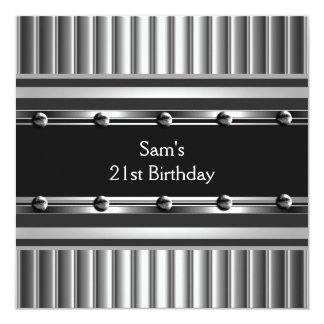 Mens 21st Birthday Party Black Metal Silver Mans Custom Invite